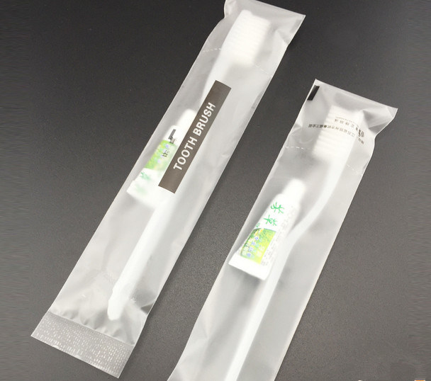 Print Logo Plastic Bag Hi-Q Toothbrush +Toothpaste for Five Hotel