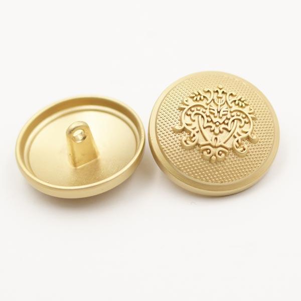 Embossed Logo Golden Alloy Metal Shank Button for Garment