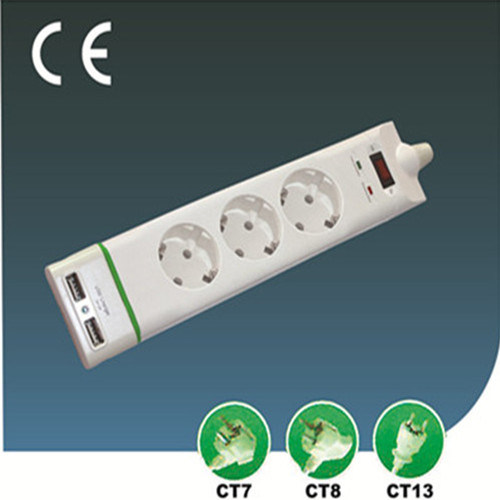 EU Style Three Ways Electrical Socket with USB