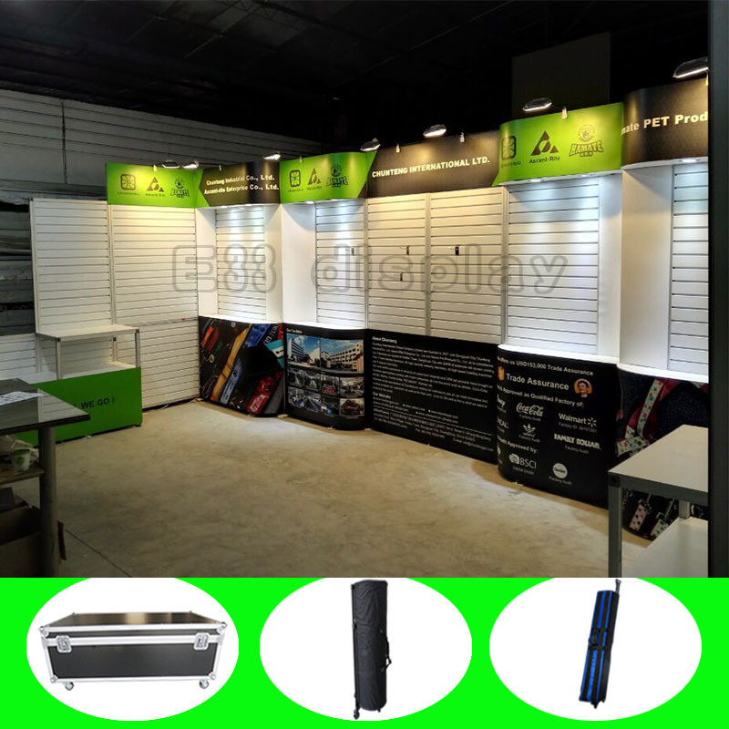 Custom Fabric Portable Aluminium Slatwall Booth Stand Trade Show Exhibition Display