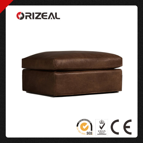 Orizeal Brazilian Top Grain Genuine Leather Camelback Ottoman (OZ-LS-2007)