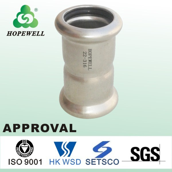 Top Quality Sanitary Stainless Steel 304 316 Press Connect Equal Coupling