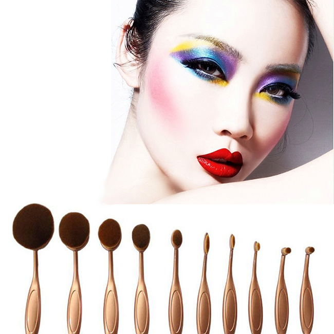 2016 New 10 Pieces Rose Golden Toothbrush Shape Makeup Brush