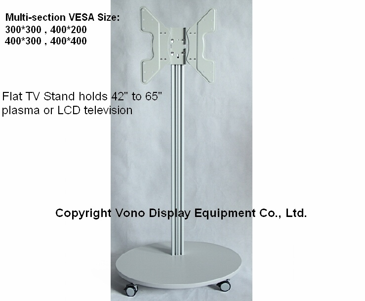 Exhibition Display Single Column Mobile TV Stand with Shelf