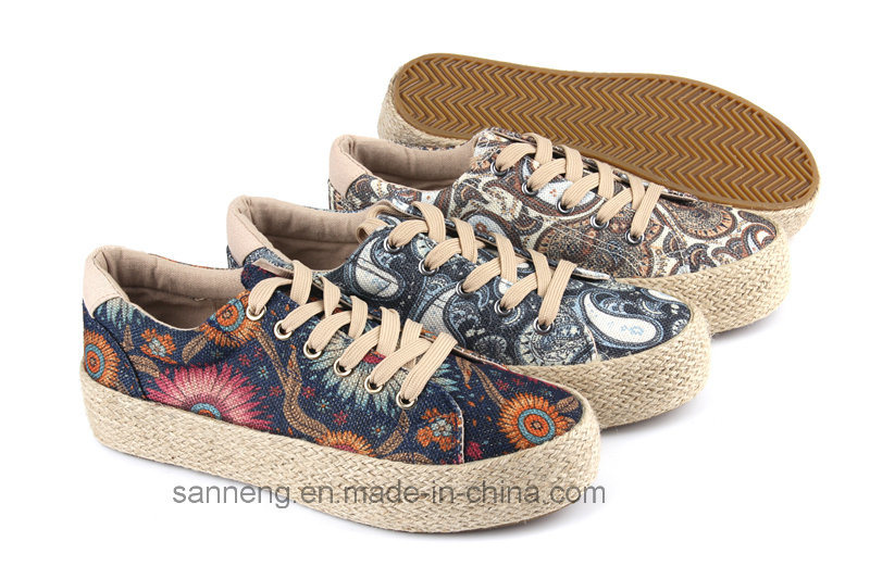 2016 Rubber Vulcanized Women Shoes with Hemp Rope Foxing (SNC-280031)