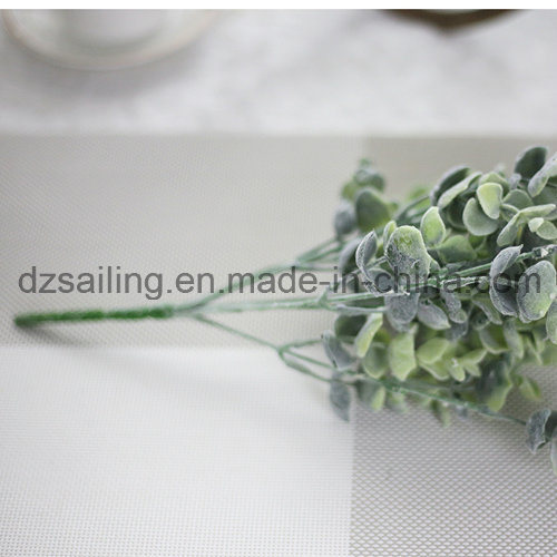 Plastic Flocky Leaves Aritificial Flower for Wedding/Home/Garden Decoration (SF16296A)