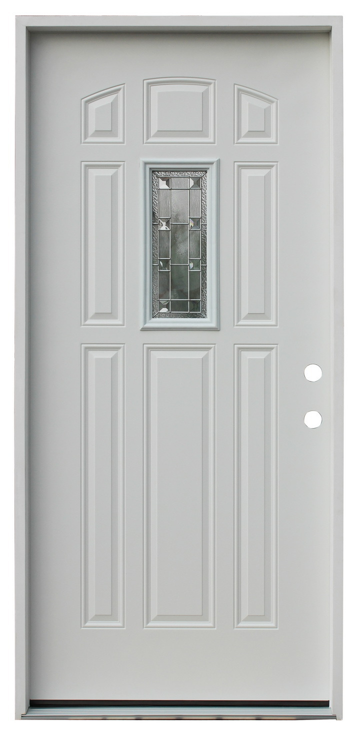 Glass Inserted Mom and Son Exterior Steel Door