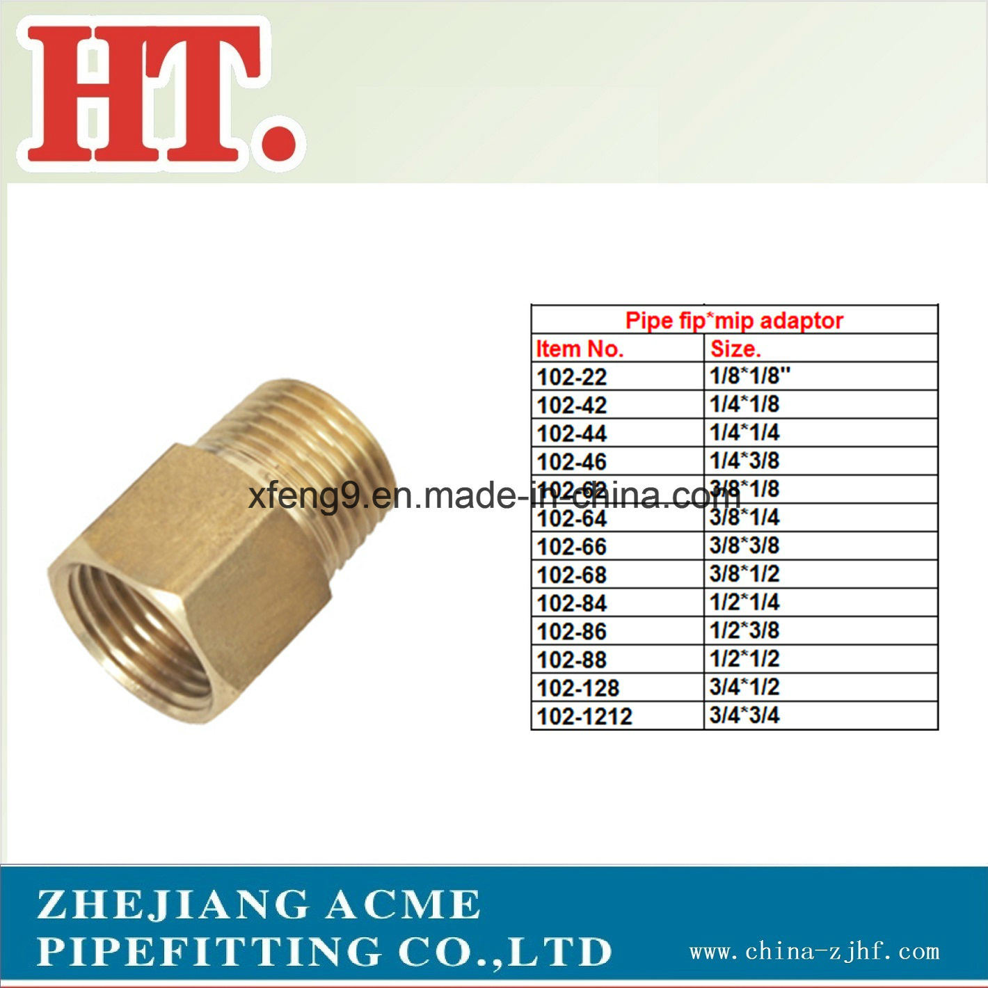High Quality Threaded Brass Reducing Pipe Fitting Adapter