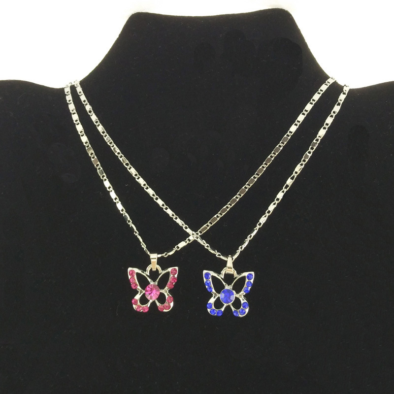 Colorful Stone Tiny Butterfly Pendant Necklace for Kids Jewellery (FN16040722)
