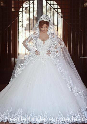 Lace Bridal Ball Gown Long Sleeves Tulle Wedding Dresses We2015
