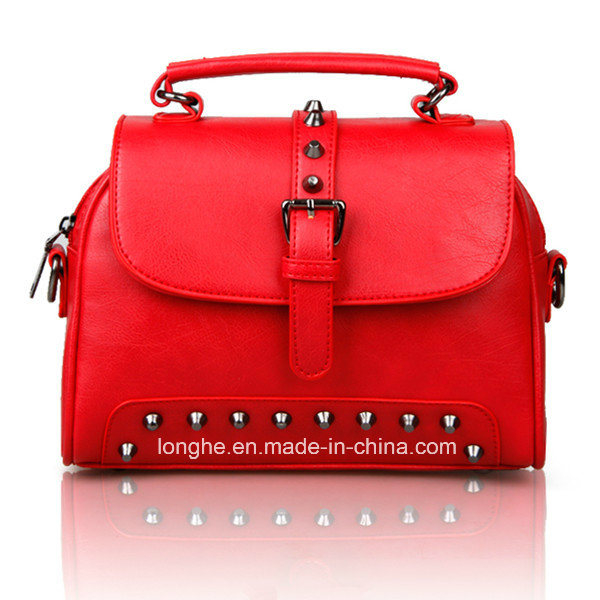 2017 Top Selling Red OEM Lady′s Leather Handbag
