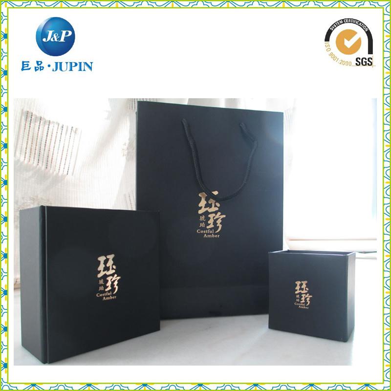 Full Black Printing Handle Luxury Paper Bag for Jewelry (JP-PB012)