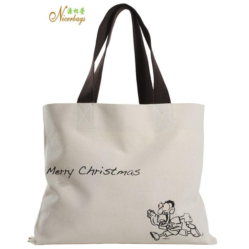 High Quality Merrry Christmas Promotion Custom Canvas Tote Bag