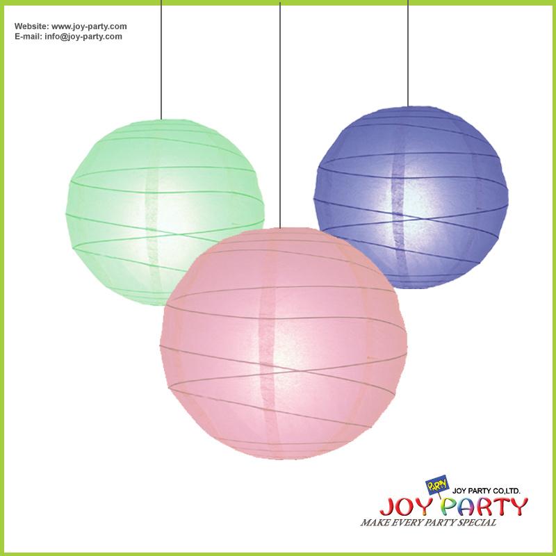 Irregular Ribbed Round Paper Lantern