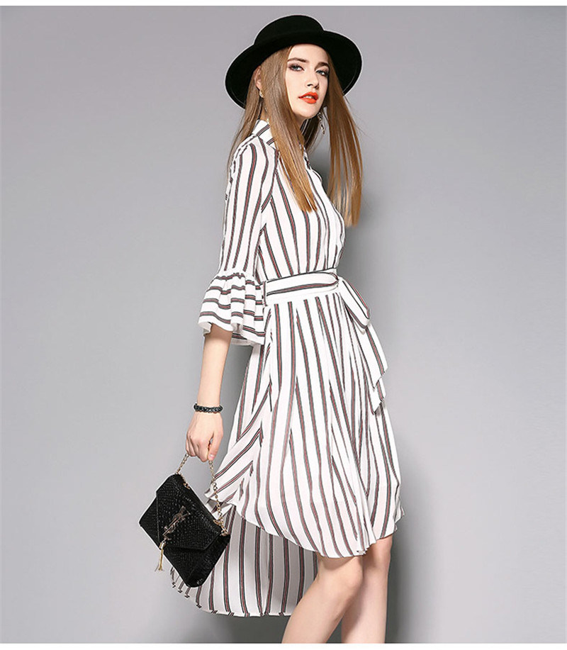 High-Waist Irregular Hemline Striped Women Dress with Puff Sleeve