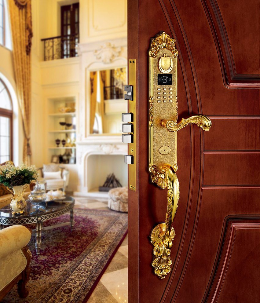 High Quality Brass Fingerprint Door Lock with Password and IC Card