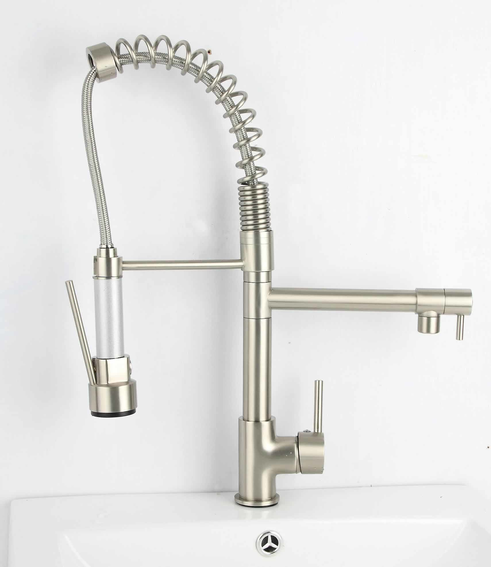 Pull Out Brushed Nickel Kitchen Faucet
