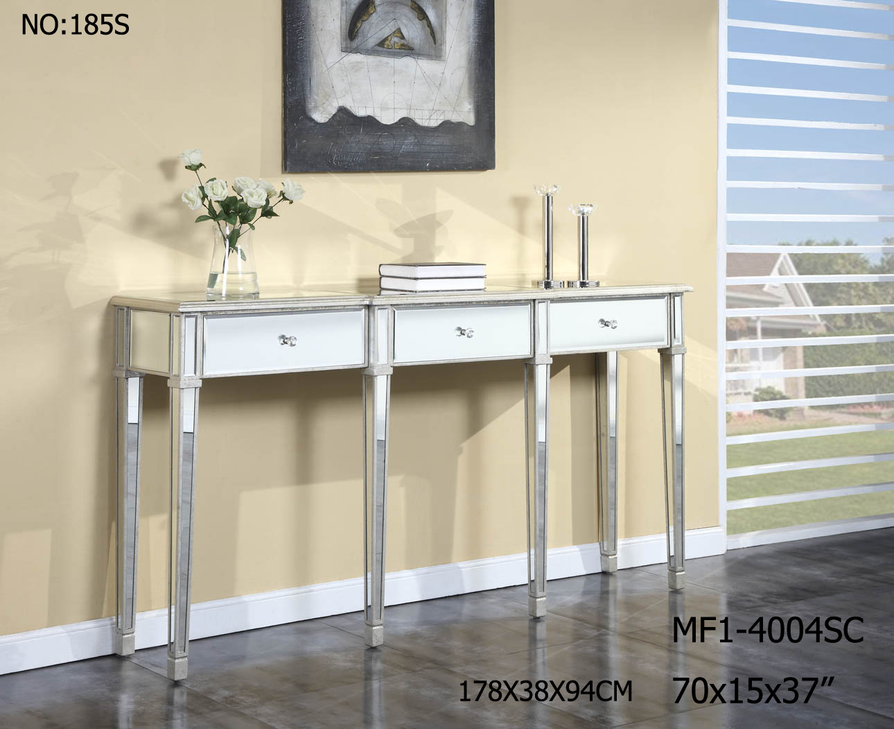 Mirrored Furniture Console Table with 3 Drawer for Hotel