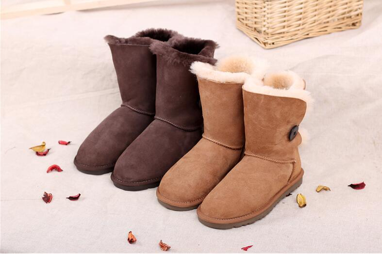 Classic Sheepskin Winter Women Boots with Single Button Chestnut