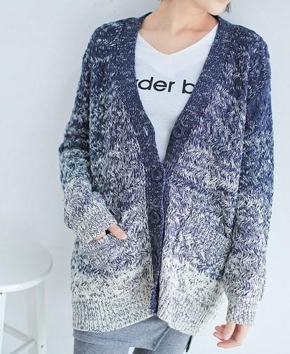 The Gradient Color Art Loose Knit Coat (BTQ020)