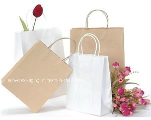 Square Bottom Kraft Paper Bag Yarn Paper Bag with Handle