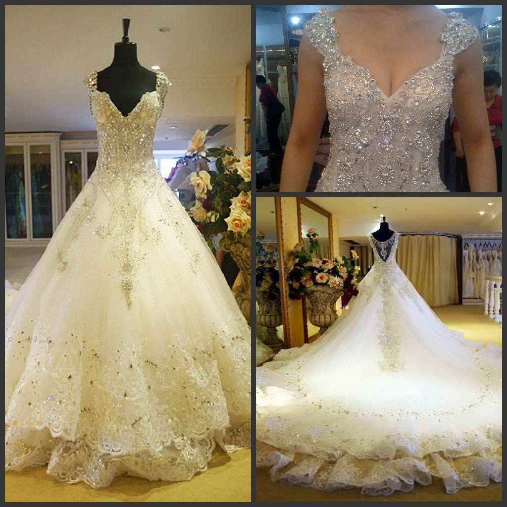 China Crystals Bridal Ball Gowns Vestidos Fashion Lace
