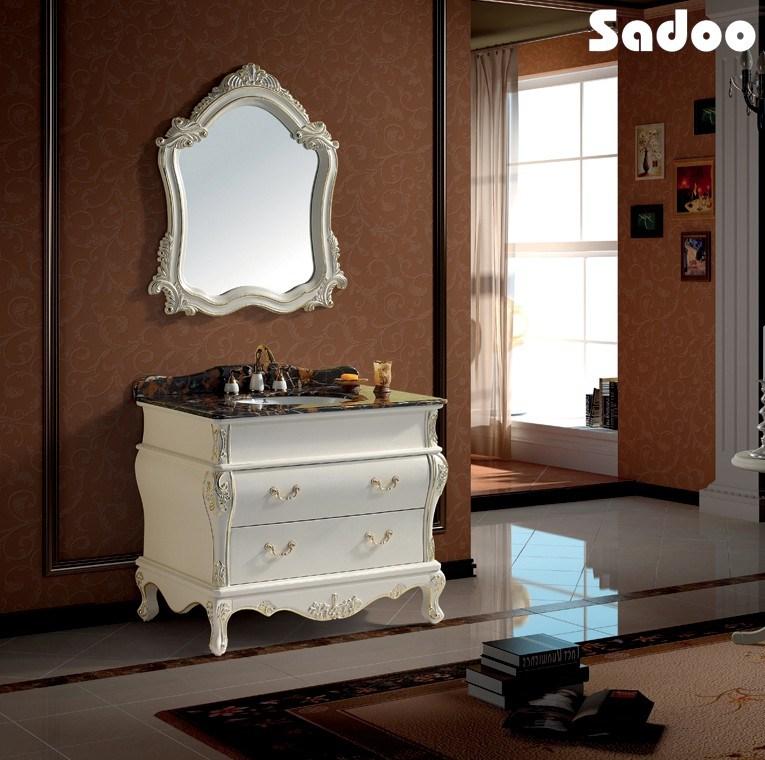 Gabinete Para Baño Madera:Gabinete blanco antiguo tocador de baño de madera sólida (SD-SE1003