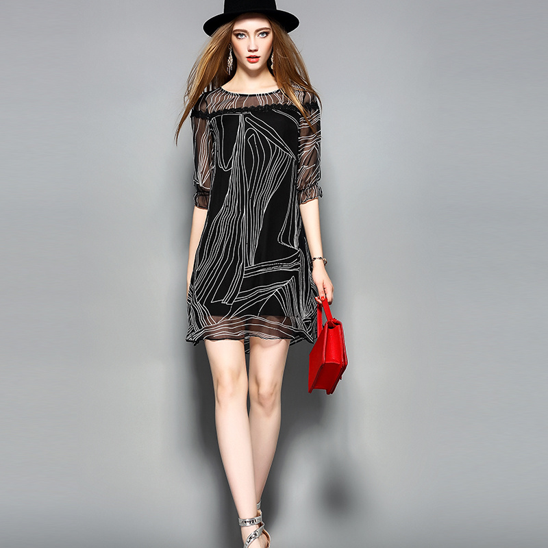 Black Silk Casual Women Lady Dress Clothing