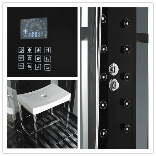 Monalisa Black Round Computerized Shower Room with Steam Sauna (M-8280)