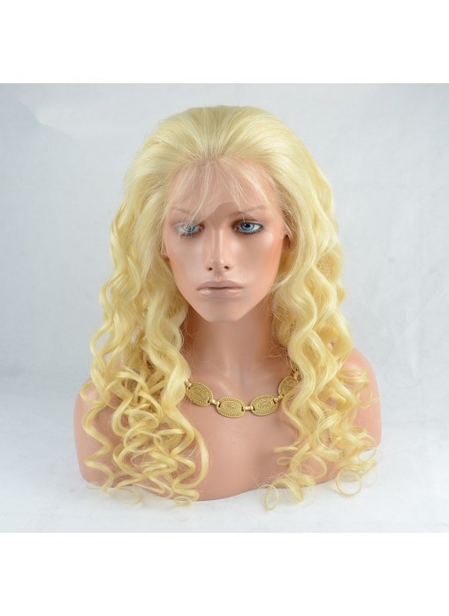 Virgin Human Hair Blonde 613 Loose Wave Full Lace Wig