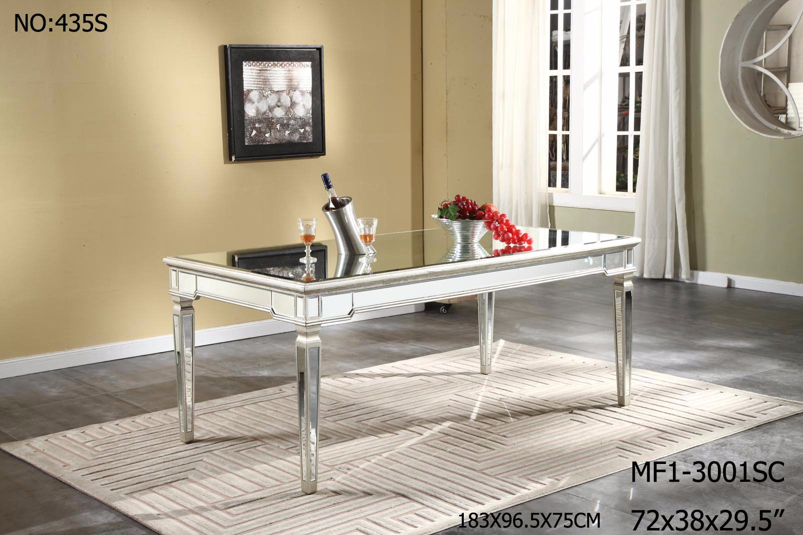 Special Rectangle Mirrored Furniture for Dining Room