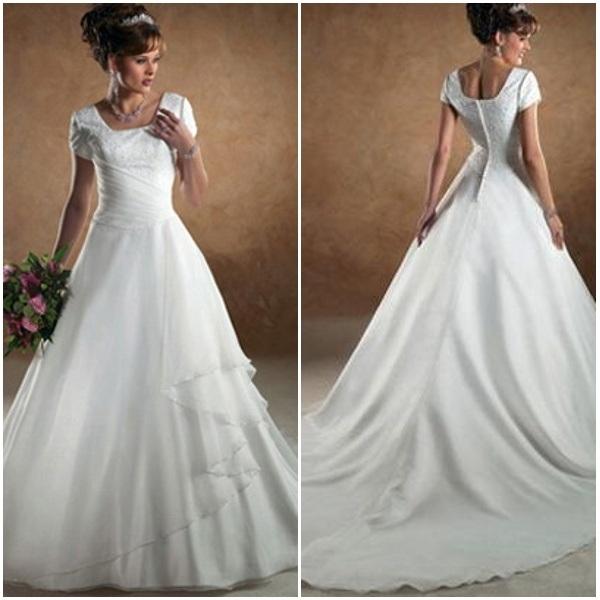 Classic Wedding Dresses Short : China square neckline short sleeve appliqued classic style