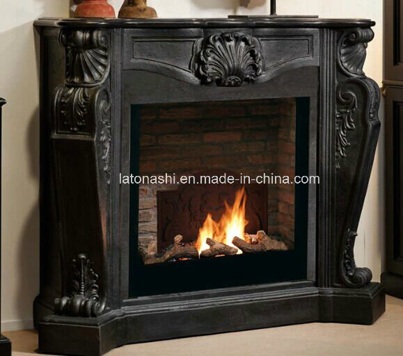 Black Marble Fireplace Mantel with Sculpture Carved