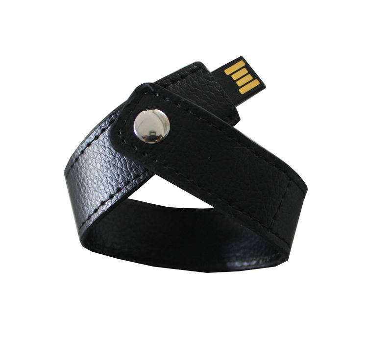 Two Colors Wristband Leather USB Flash Drives with Engrave