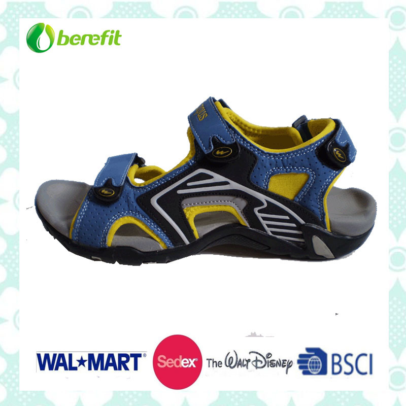 Blue, Yellow and Black PU Upper, TPR Sole, Sporty Sandals