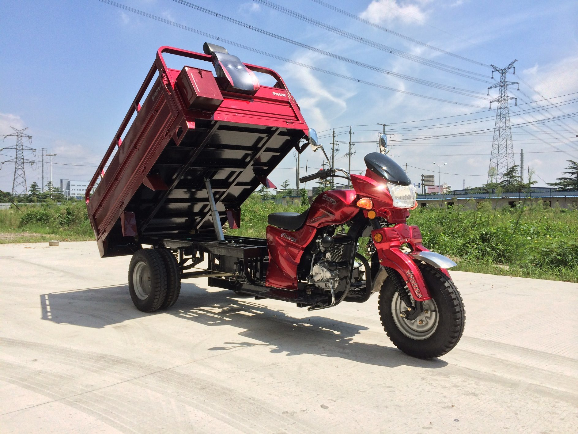 Double Shock Three Wheel Cargo Tricycle with Rear Double Tyre