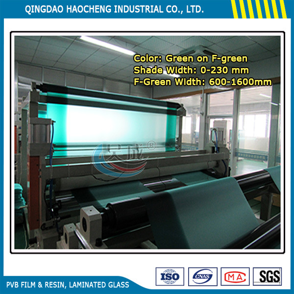 Thick 0.76mm Shade Green on Clear PVB Film for Automotive Windshield Glass