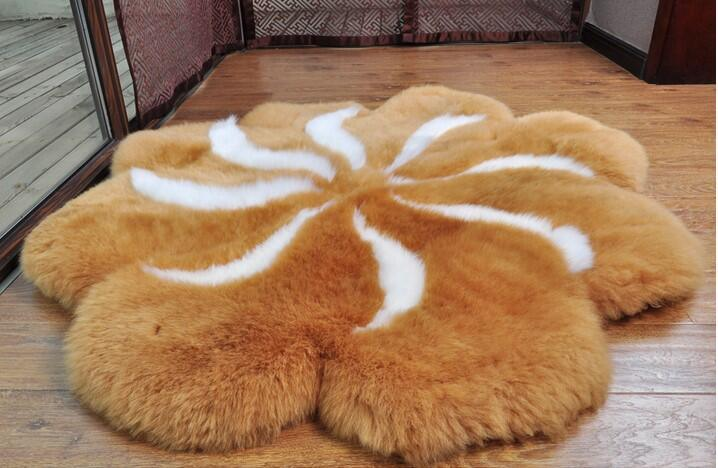 Long Wool Stuffed Hand Made Sheepskin Floor Rug Fur Carpet