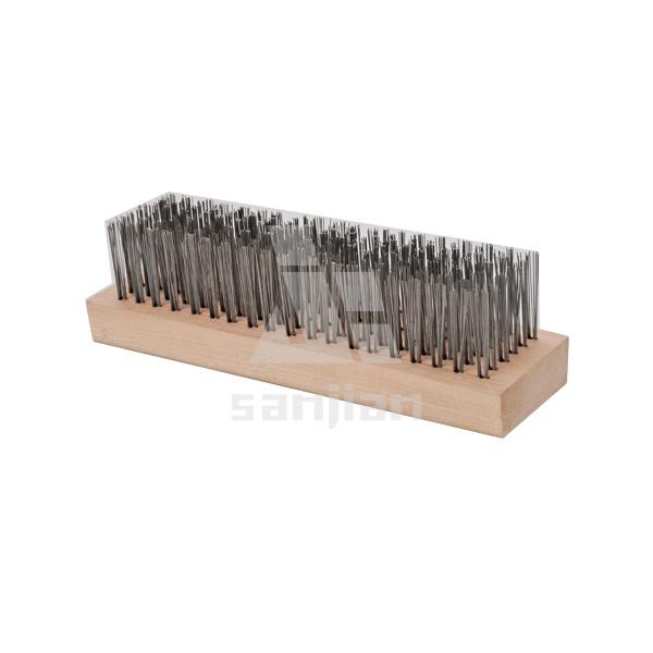 The Newest Block Handle Style Steel Wire Brush with Wooden Handle, Brush Steel Wire Brush Cleaning Brush (SJIE3025)