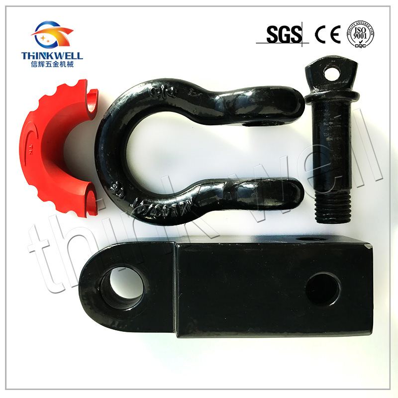 Solid Shank Shackle D Ring Receiver Hitch with Isolator Kit