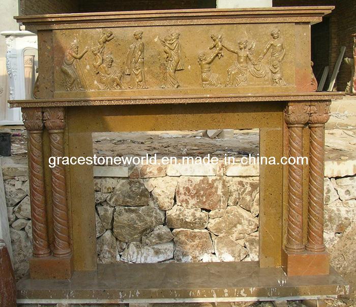 Carved Stone Mantel, Limestone Fireplace