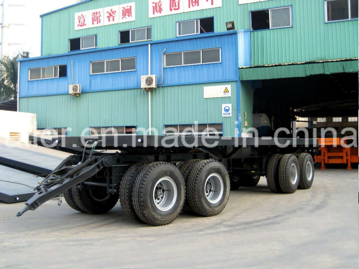 4axles Flatbed Full Trailer (2front+2rear axles with drawbar and turntable)