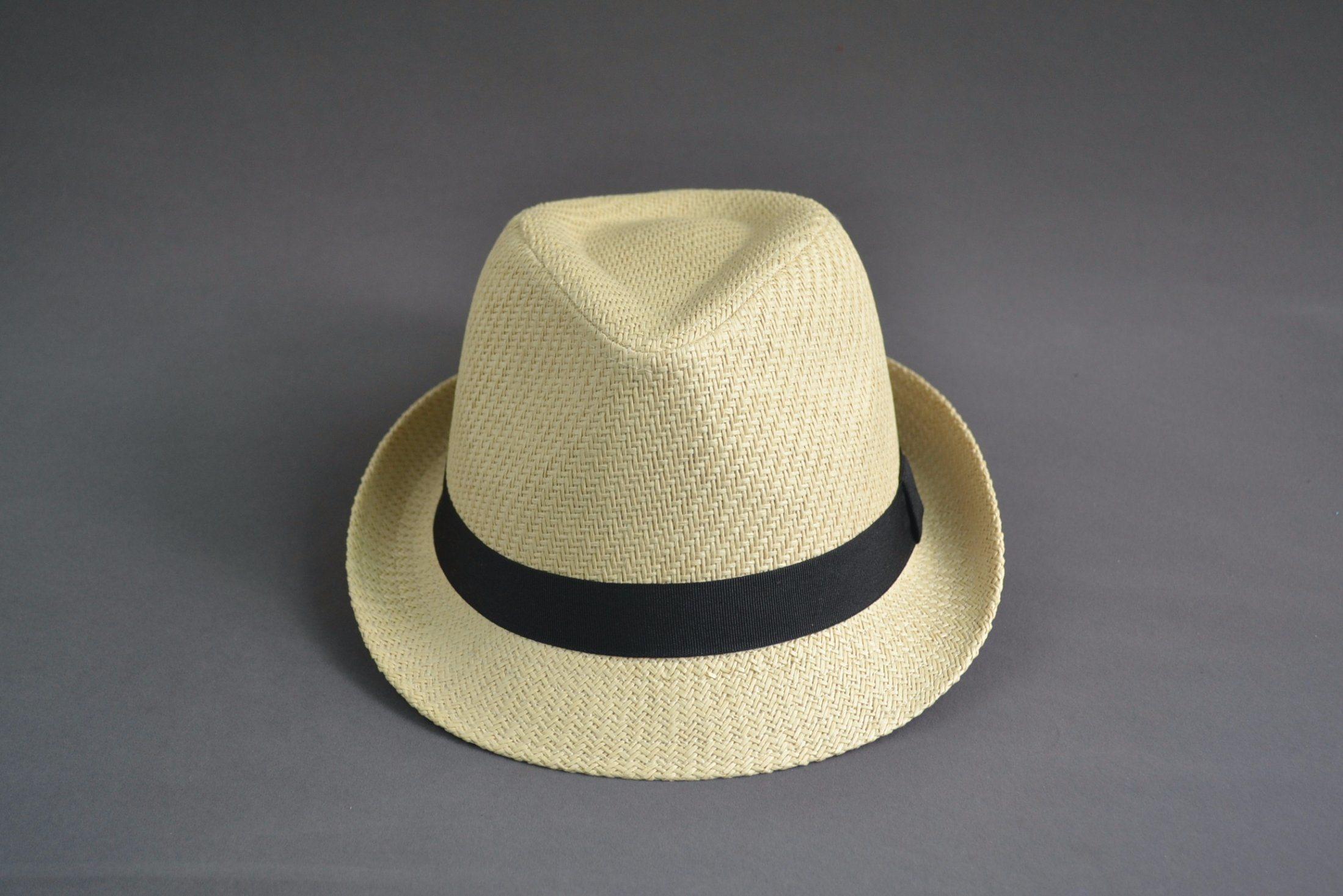 Blank Paper Straw Fedora Hat