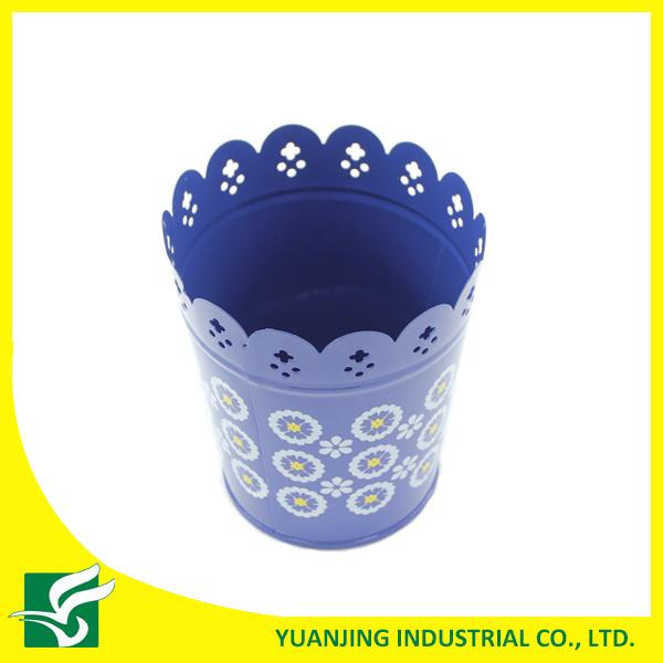 Blue Home Garden Metal Carved Flower Pot