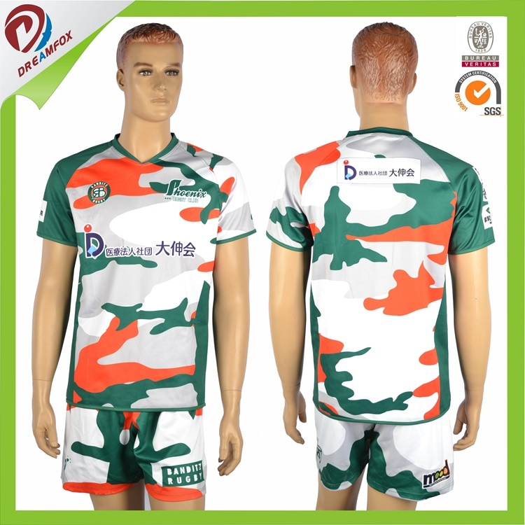 Customized 100% Polyester Sublimated Rugby Uniform