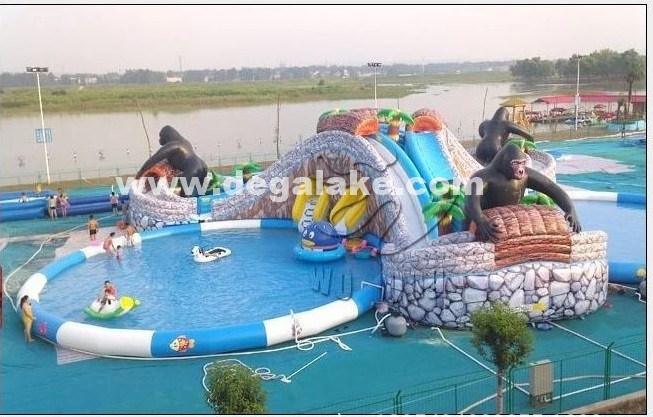 Inflatable Three Lane Chimpanzee Slide with Three Swimming Pool