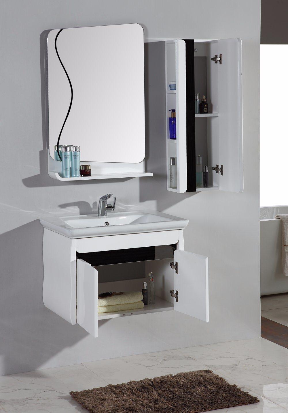 The Latest MDF White Lacquer Bathroom Furniture Cabinet