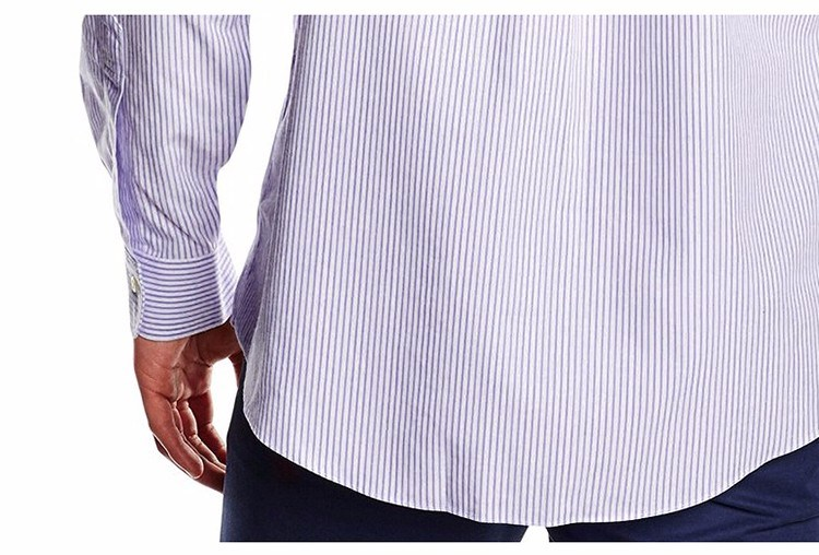 Men′s Dress Classic Fit Long Sleeve Stripe Purple Shirt