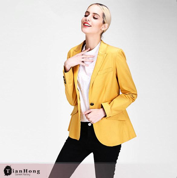 Wholesale Light Yellow Two Button Slim Fit Blazer for Women