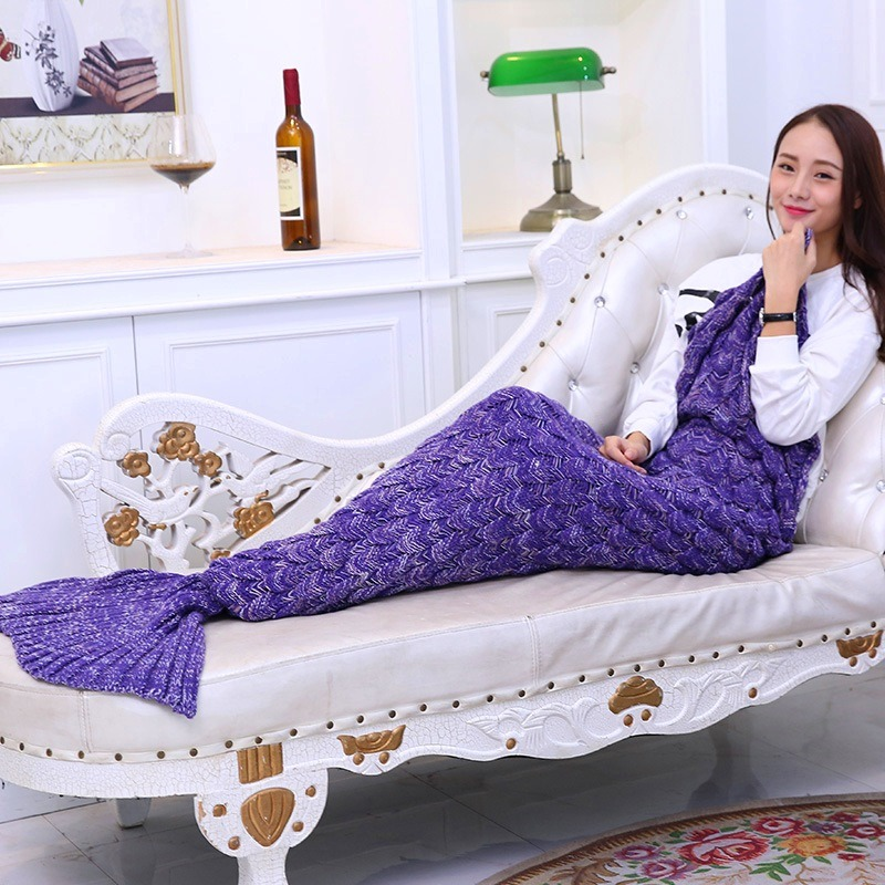 Knitted Handmade Crochet Mermaid Tail Blanket Throw Bed Sofa Wrap Sleeping Bag